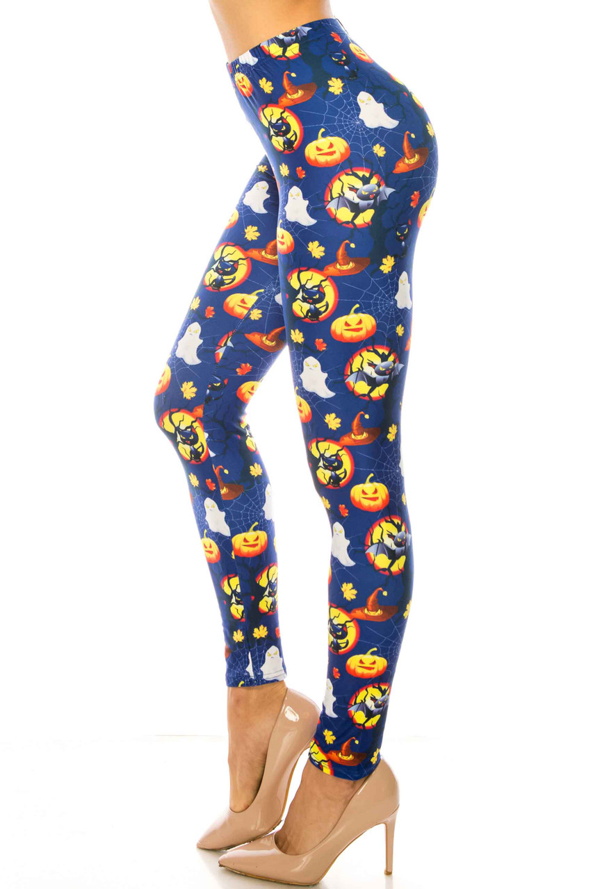 Left side image of Creamy Soft Halloween Critters Plus Size Leggings - USA Fashion™