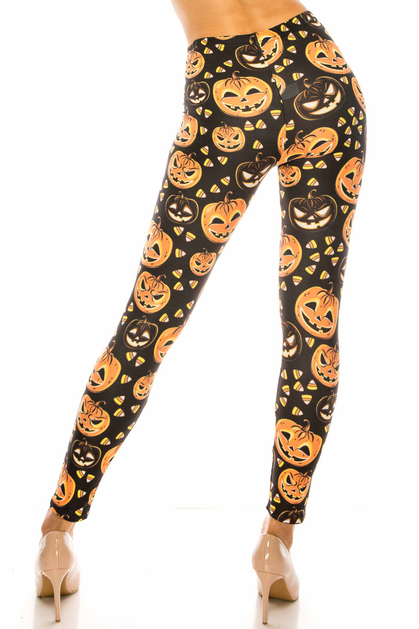 Back side image of Creamy Soft Halloween Pumpkins Leggings - USA Fashion™ with an amazing design for fall.