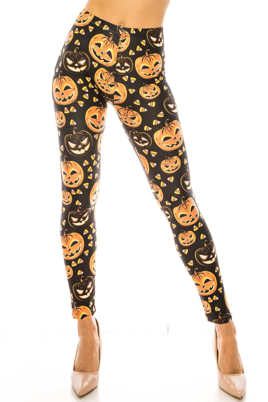 Front side image of mid rise Creamy Soft Halloween Pumpkins Extra Plus Size Leggings - 3X-5X - USA Fashion™