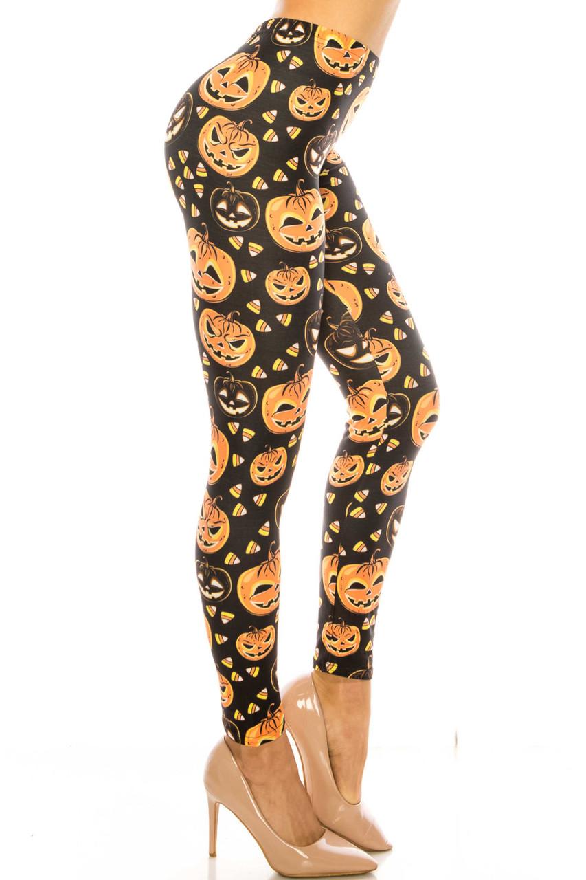 Right side image of Creamy Soft Halloween Pumpkins Extra Plus Size Leggings - 3X-5X - USA Fashion™