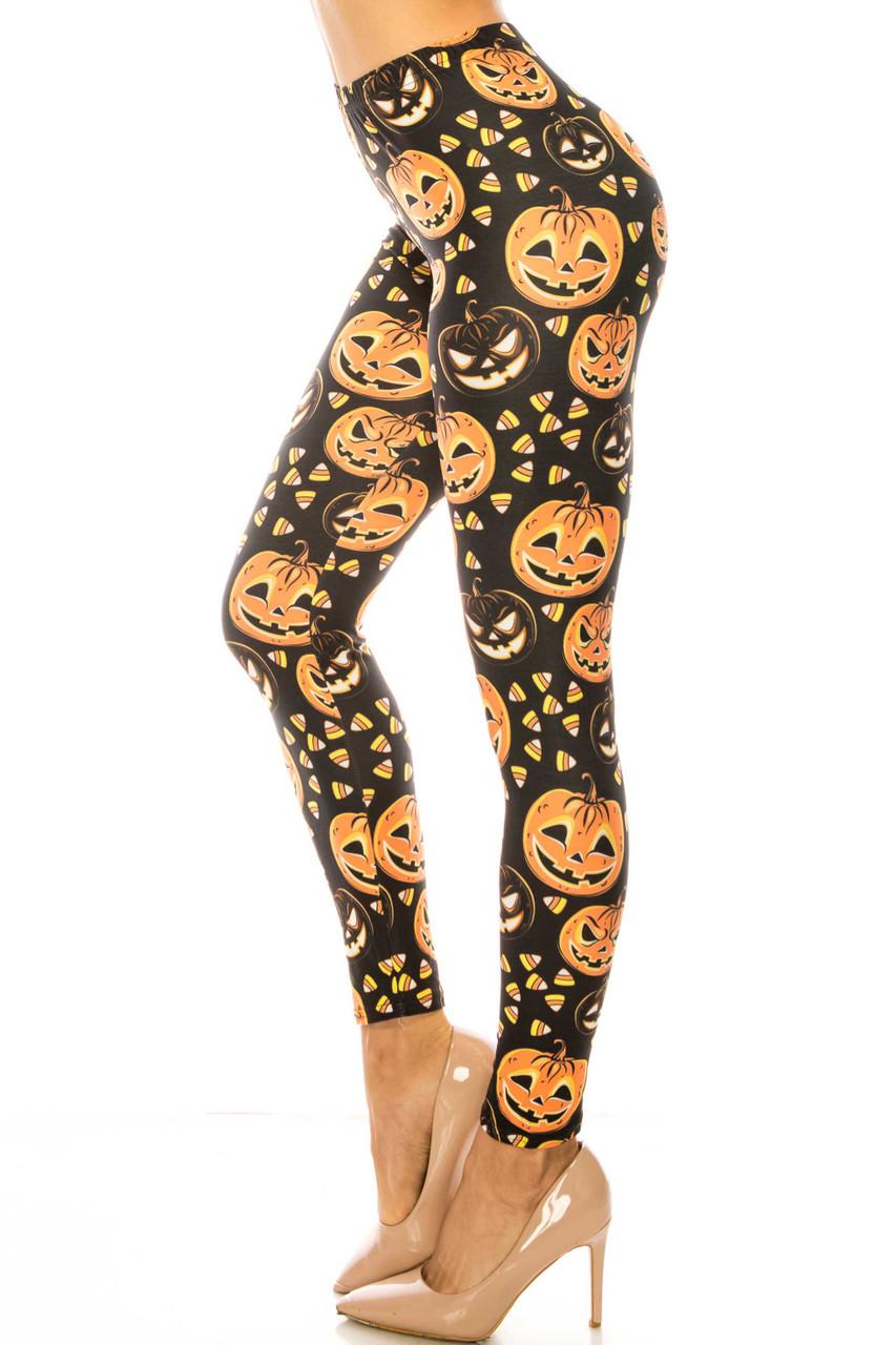 Left side image of Creamy Soft Halloween Pumpkins Extra Plus Size Leggings - 3X-5X - USA Fashion™