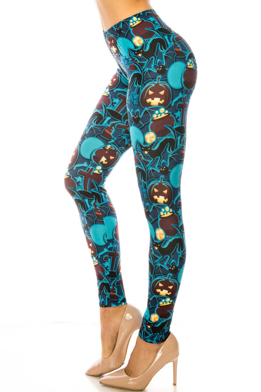 Left side of Creamy Soft Electric Blue Halloween Kids Leggings - USA Fashion™
