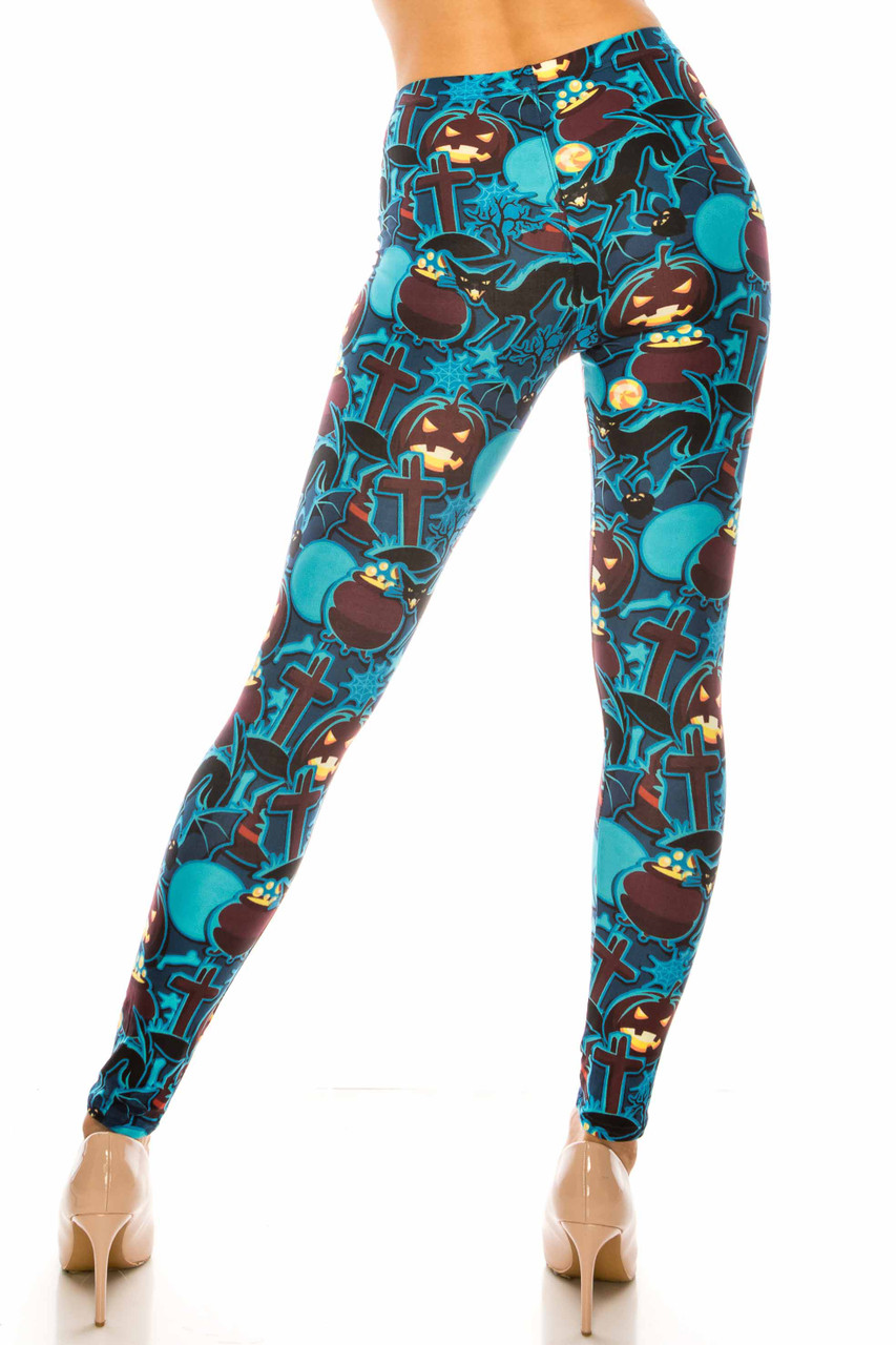 Back side image of Creamy Soft Electric Blue Halloween Extra Plus Size Leggings - 3X-5X - USA Fashion™ with a fabulous flattering fitted look.