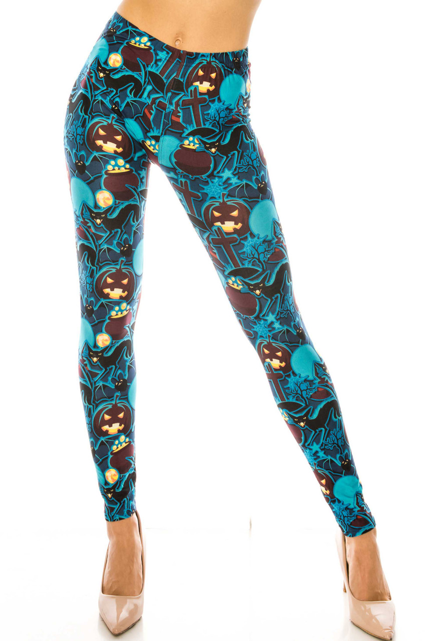 Front side image of Creamy Soft Electric Blue Halloween Extra Plus Size Leggings - 3X-5X - USA Fashion™ with a mid rise elasticized waist.
