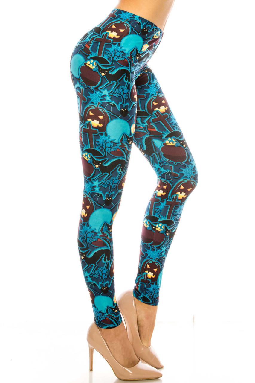 Right side of Creamy Soft Electric Blue Halloween Extra Plus Size Leggings - 3X-5X - USA Fashion™