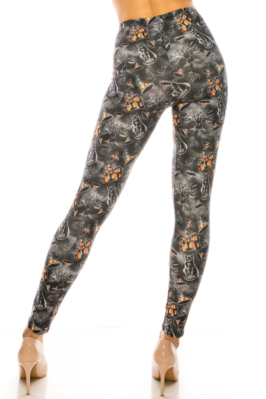 Back side image of body-fitted Creamy Soft Haunted Halloween Plus Size Leggings - USA Fashion™