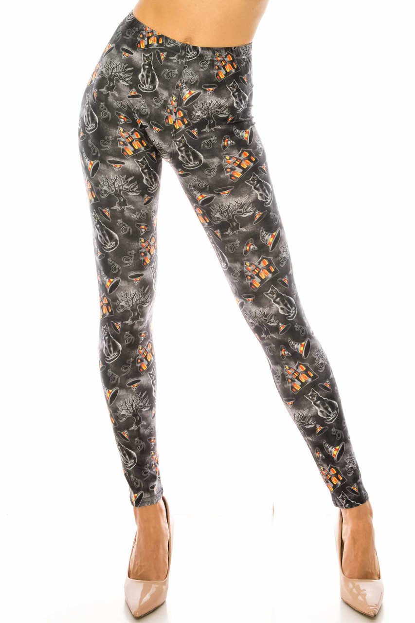 Front side image of Creamy Soft Haunted Halloween Extra Plus Size Leggings - 3X-5X - USA Fashion™ with an elastic mid rise waist