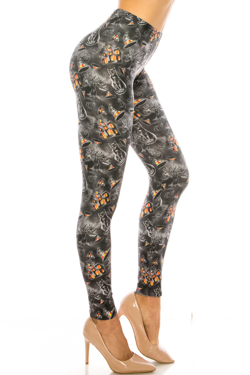 Right side image of Creamy Soft Haunted Halloween Extra Plus Size Leggings - 3X-5X - USA Fashion™