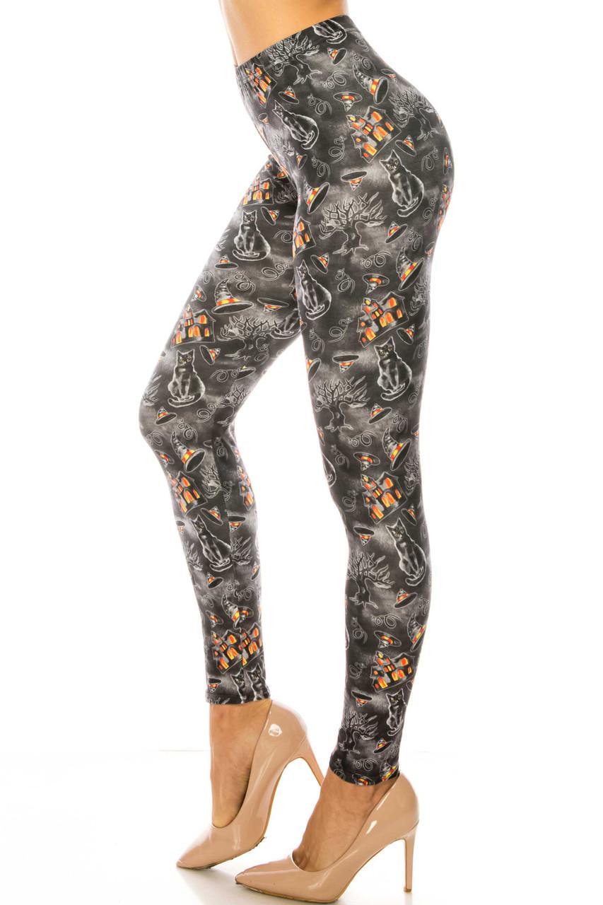 Left side image of Creamy Soft Haunted Halloween Extra Plus Size Leggings - 3X-5X - USA Fashion™