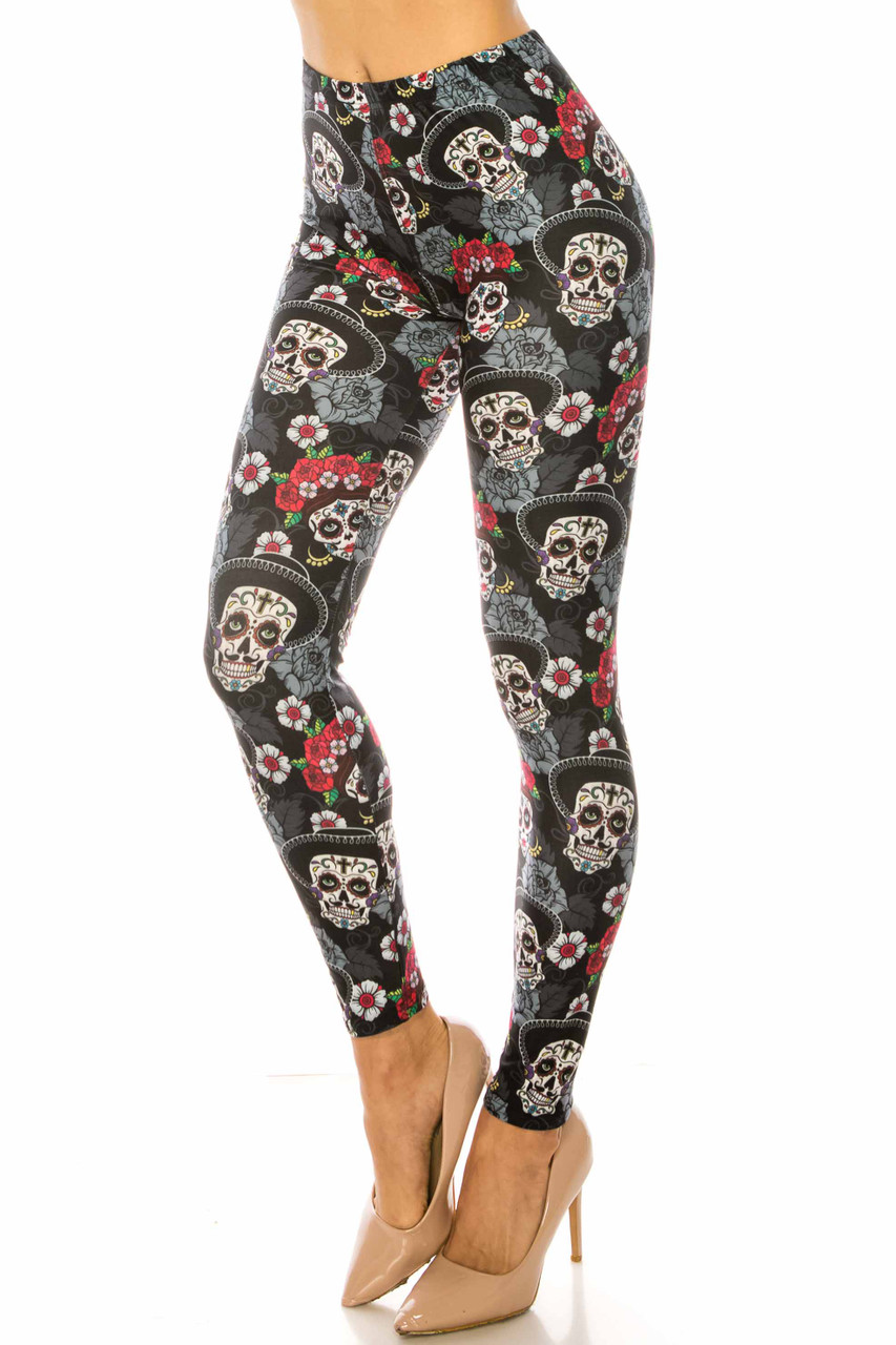 45 degree view of Creamy Soft Sugar Skull Floral Extra Plus Size Leggings - 3X-5X - USA Fashion™ with a male and female sugar skull design.