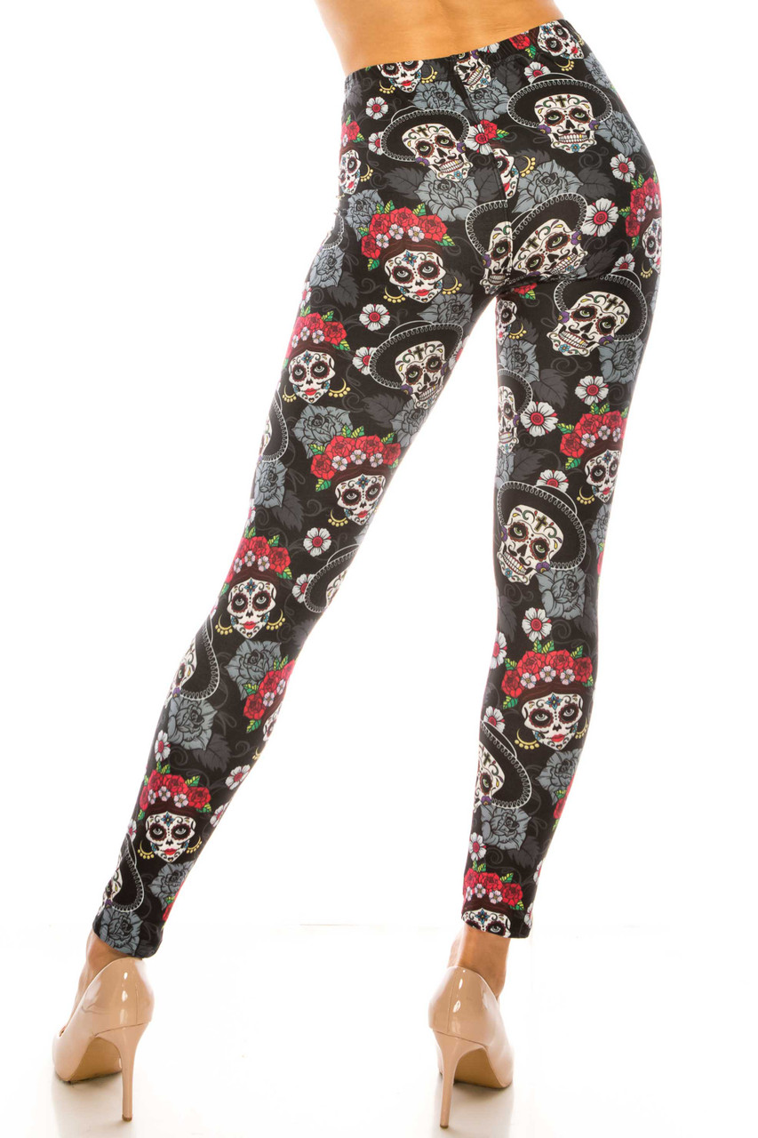 Rear view image of Creamy Soft Sugar Skull Floral Extra Plus Size Leggings - 3X-5X - USA Fashion™ with floral accents.