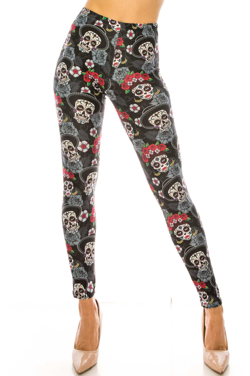 Front side image of Creamy Soft Sugar Skull Floral Extra Plus Size Leggings - 3X-5X - USA Fashion™ with a wonderful figure flattering fit.