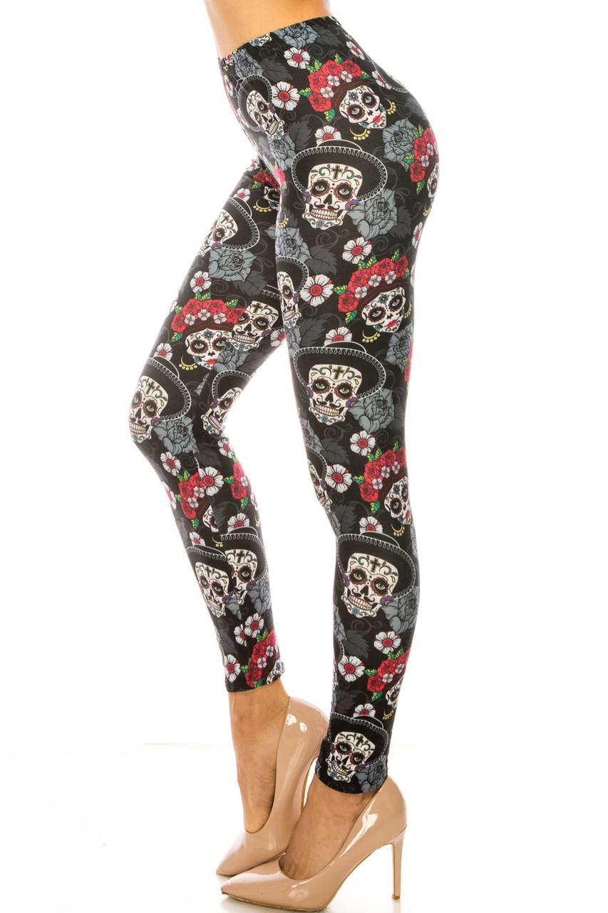 Left side of Creamy Soft Sugar Skull Floral Extra Plus Size Leggings - 3X-5X - USA Fashion™
