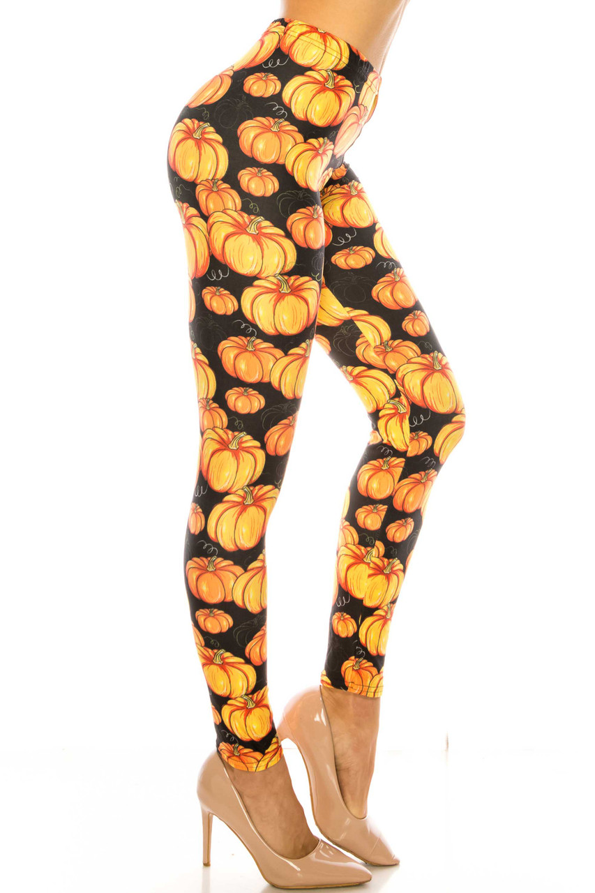 Right side of Creamy Soft Autumnal Pumpkins Plus Size Leggings - USA Fashion™