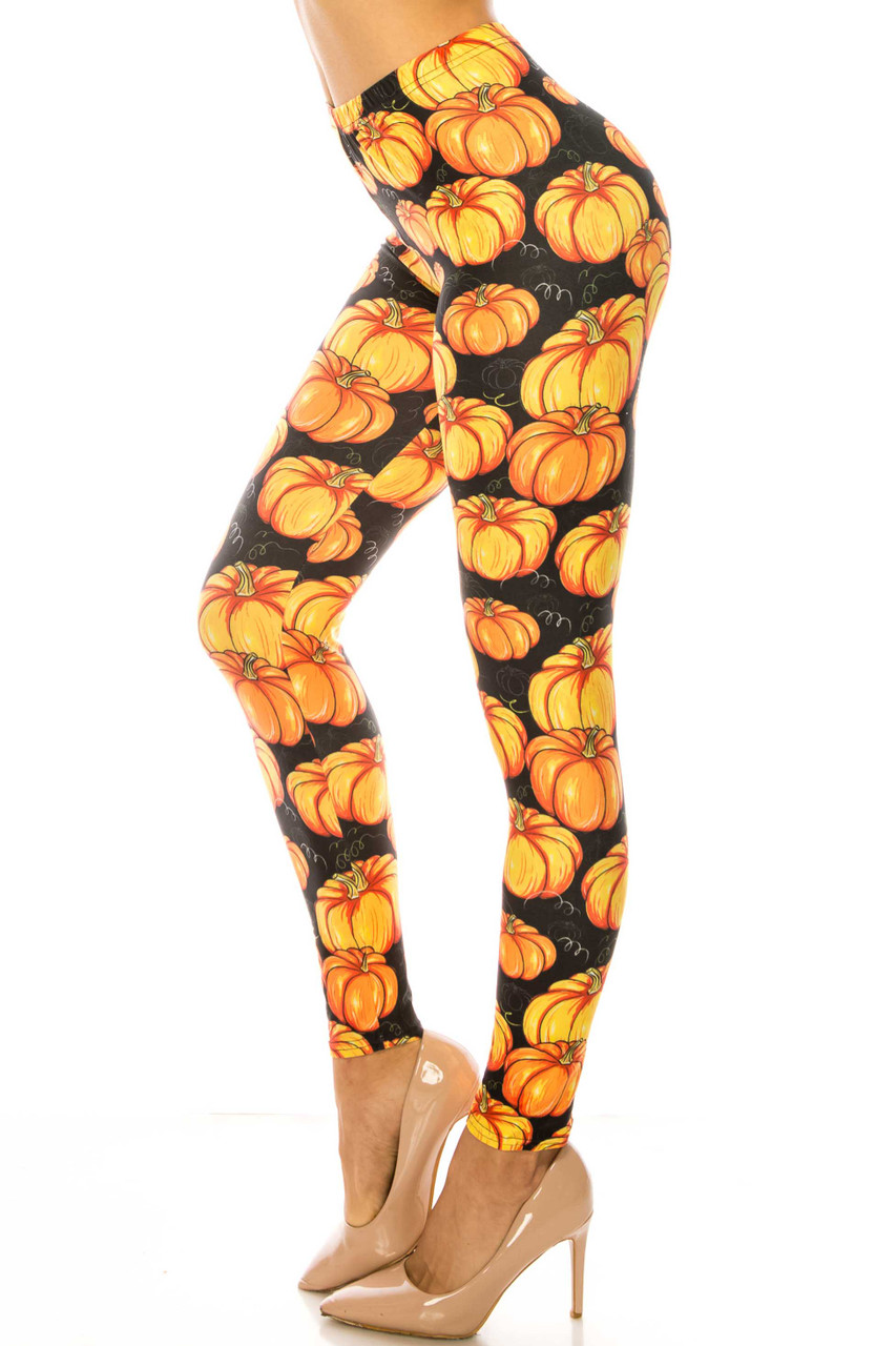 Left side of Creamy Soft Autumnal Pumpkins Plus Size Leggings - USA Fashion™