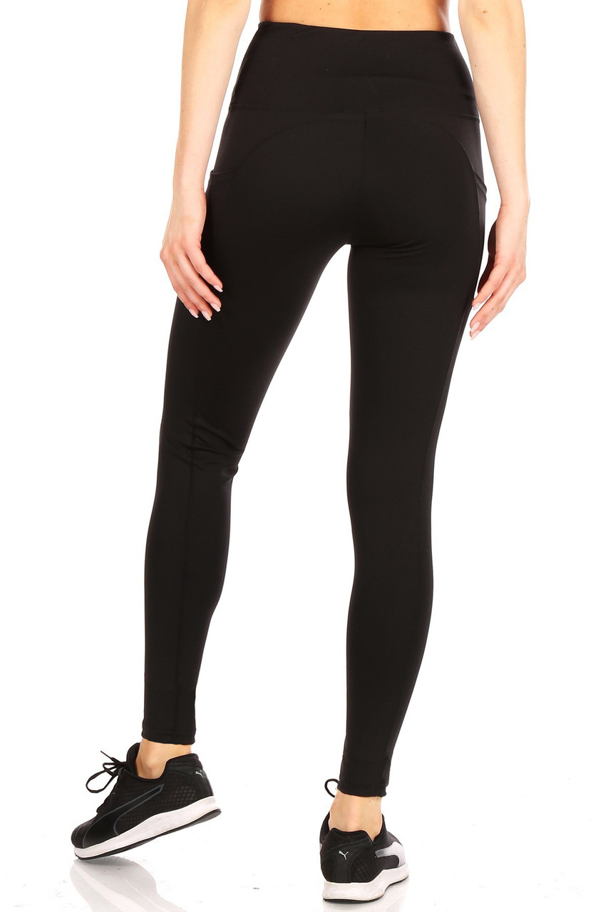 Back side view of Black Solid High Waisted Sports Leggings with Side Pockets