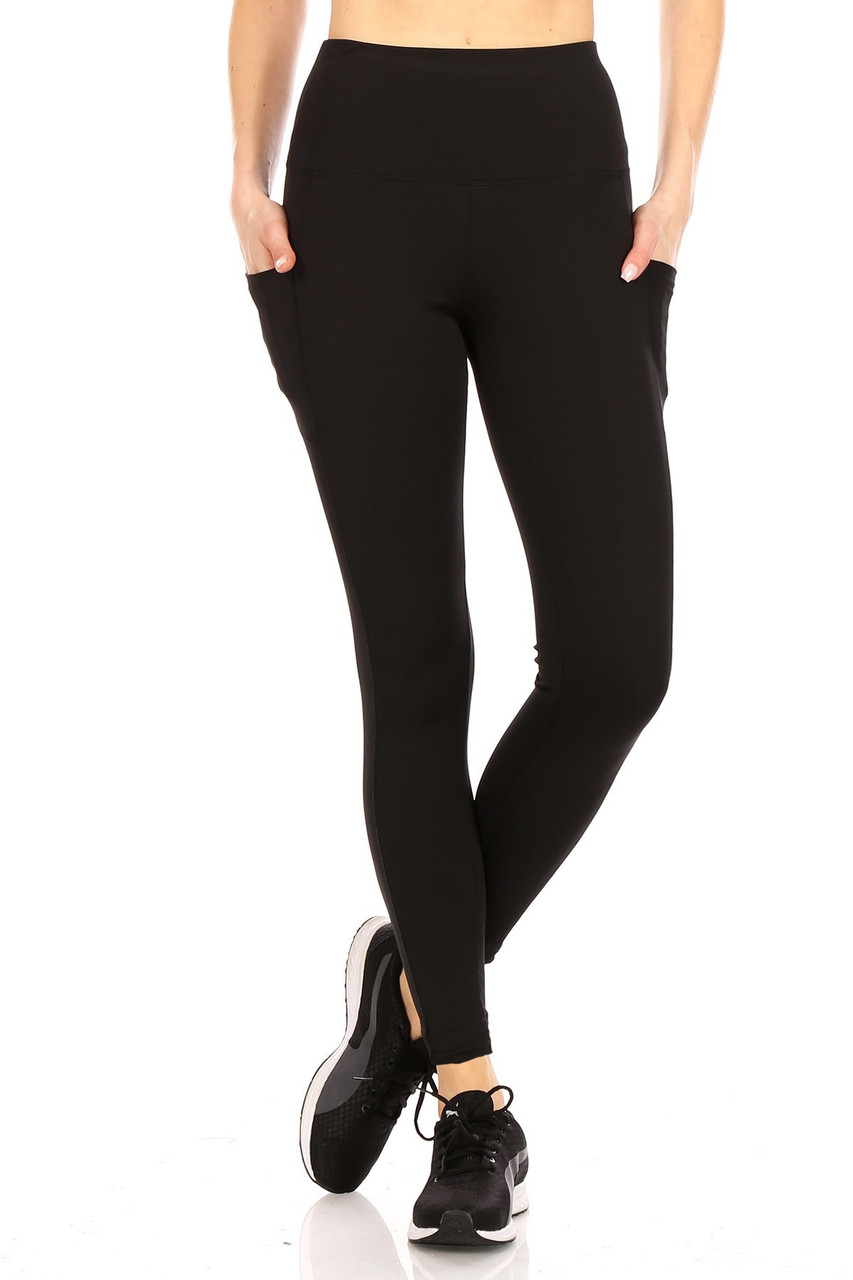 Front side view of Black Solid High Waisted Sports Leggings with Side Pockets