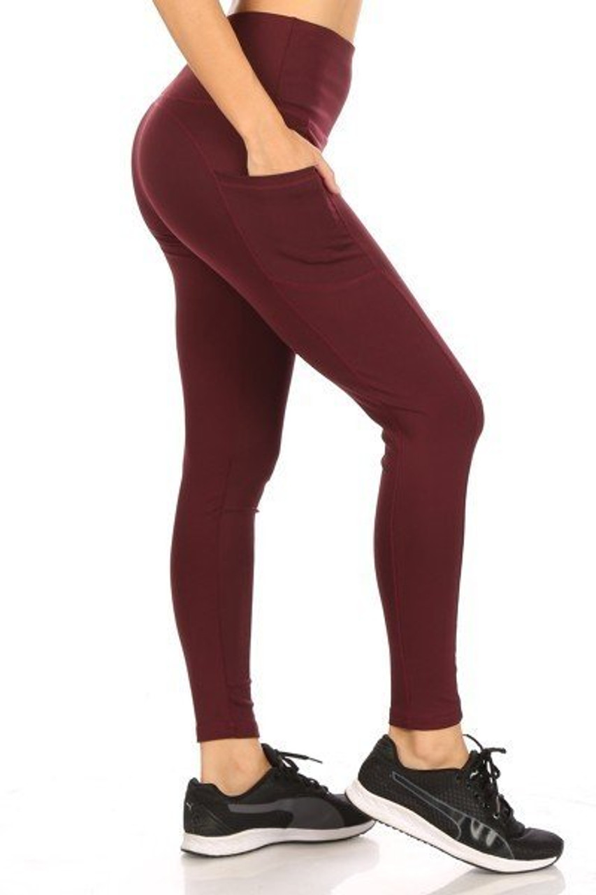 Right side of Burgundy Solid High Waisted Sports Leggings with Side Pockets