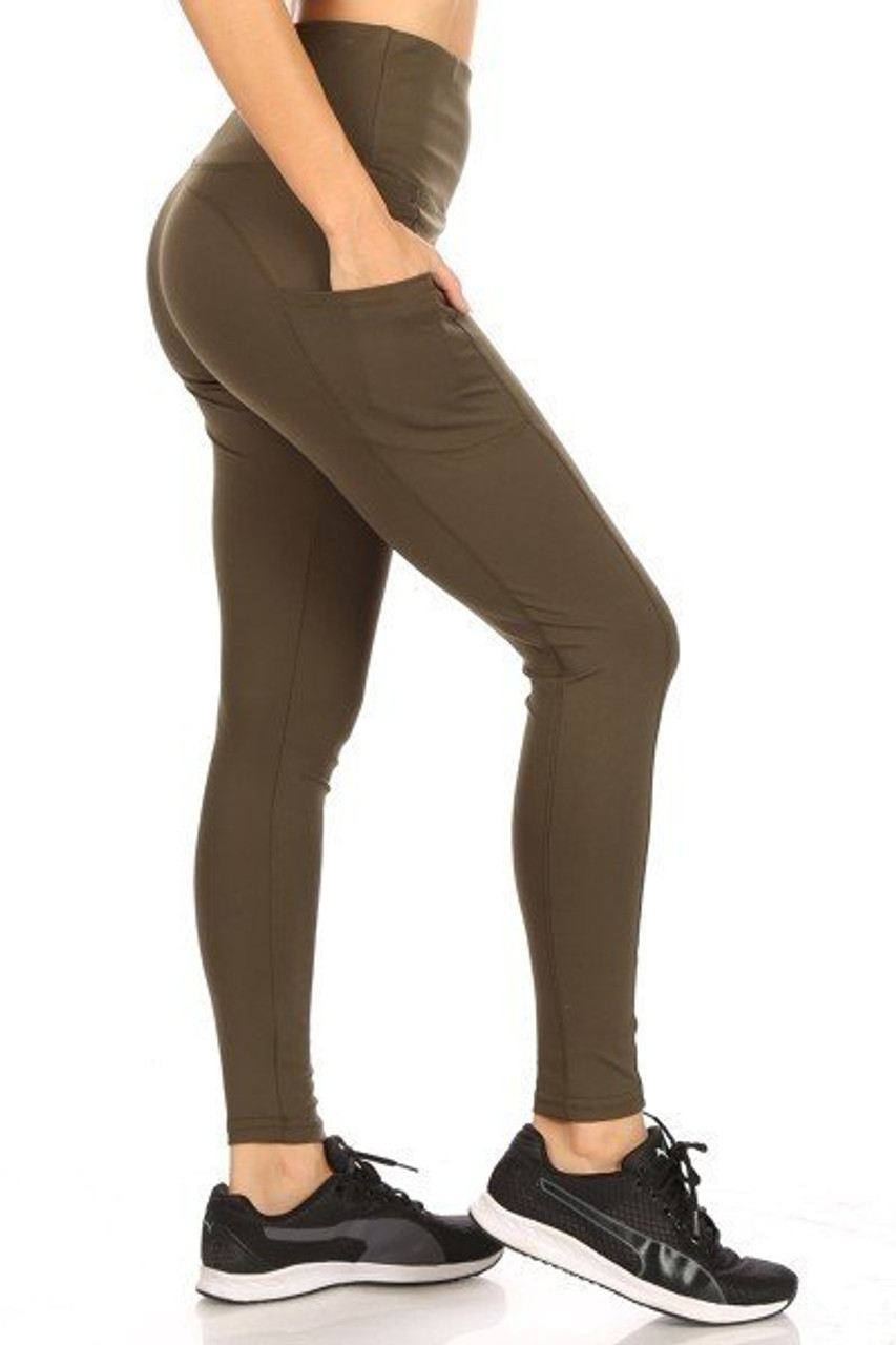 Right side of Olive Solid High Waisted Sports Leggings with Side Pockets