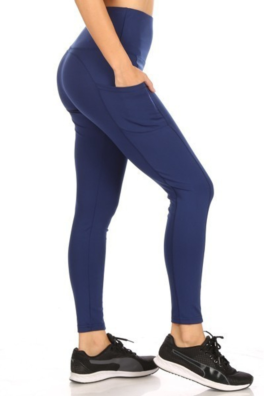 Right side of Navy Solid High Waisted Sports Leggings with Side Pockets