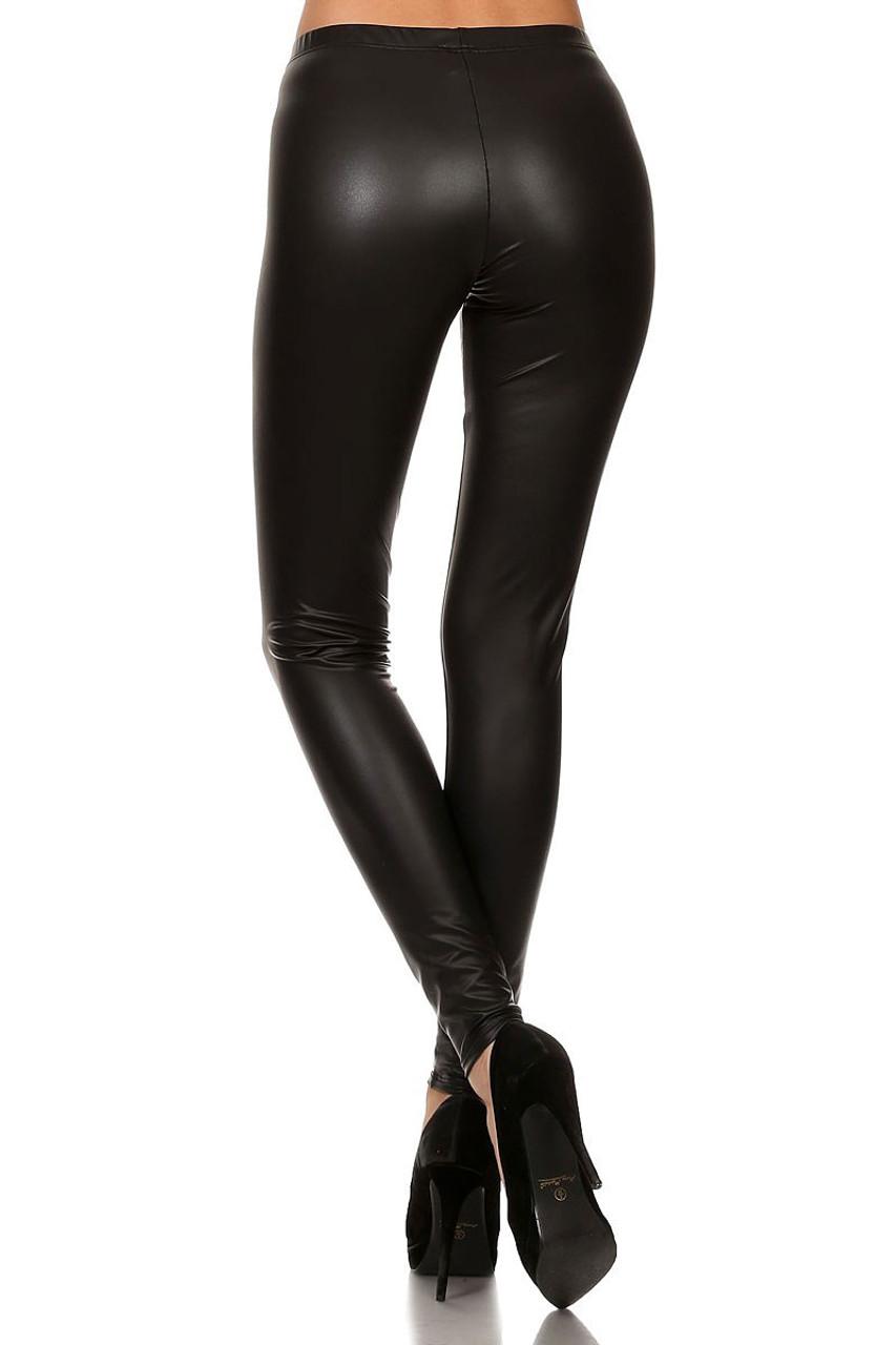 Back image of Black Matte Faux Leather Leggings