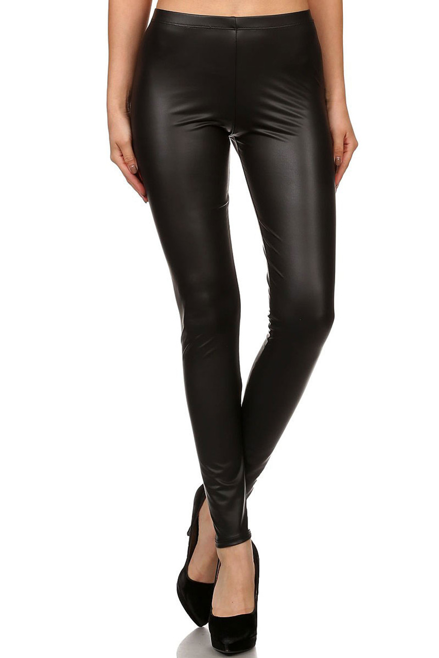 Front image of Black Matte Faux Leather Leggings