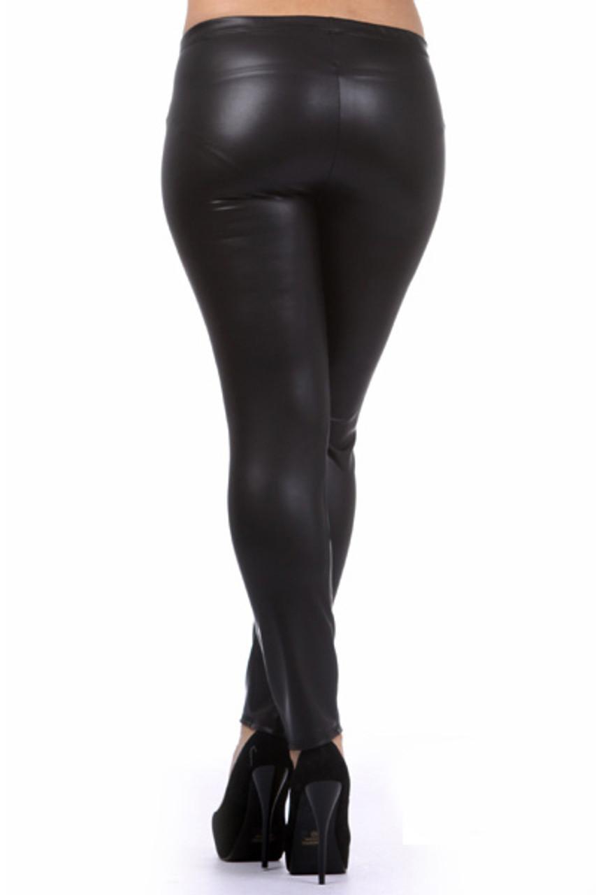 Matte Faux Leather Leggings - Plus Size