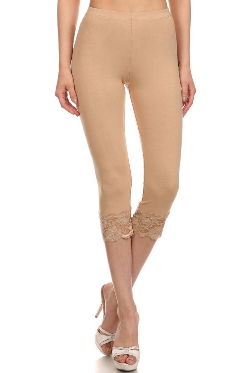 USA Cotton Capri Lace Leggings