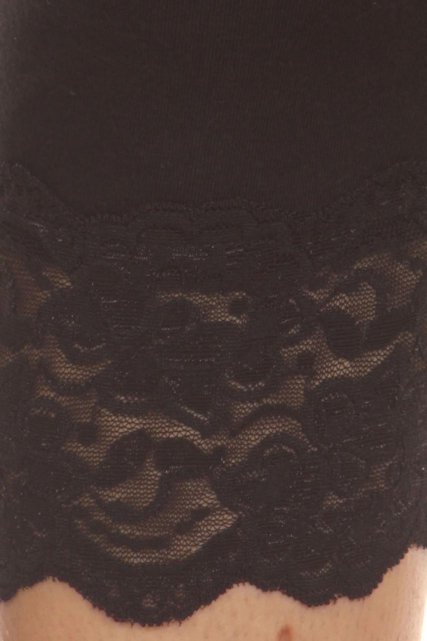 Black USA Cotton Capri Lace Leggings