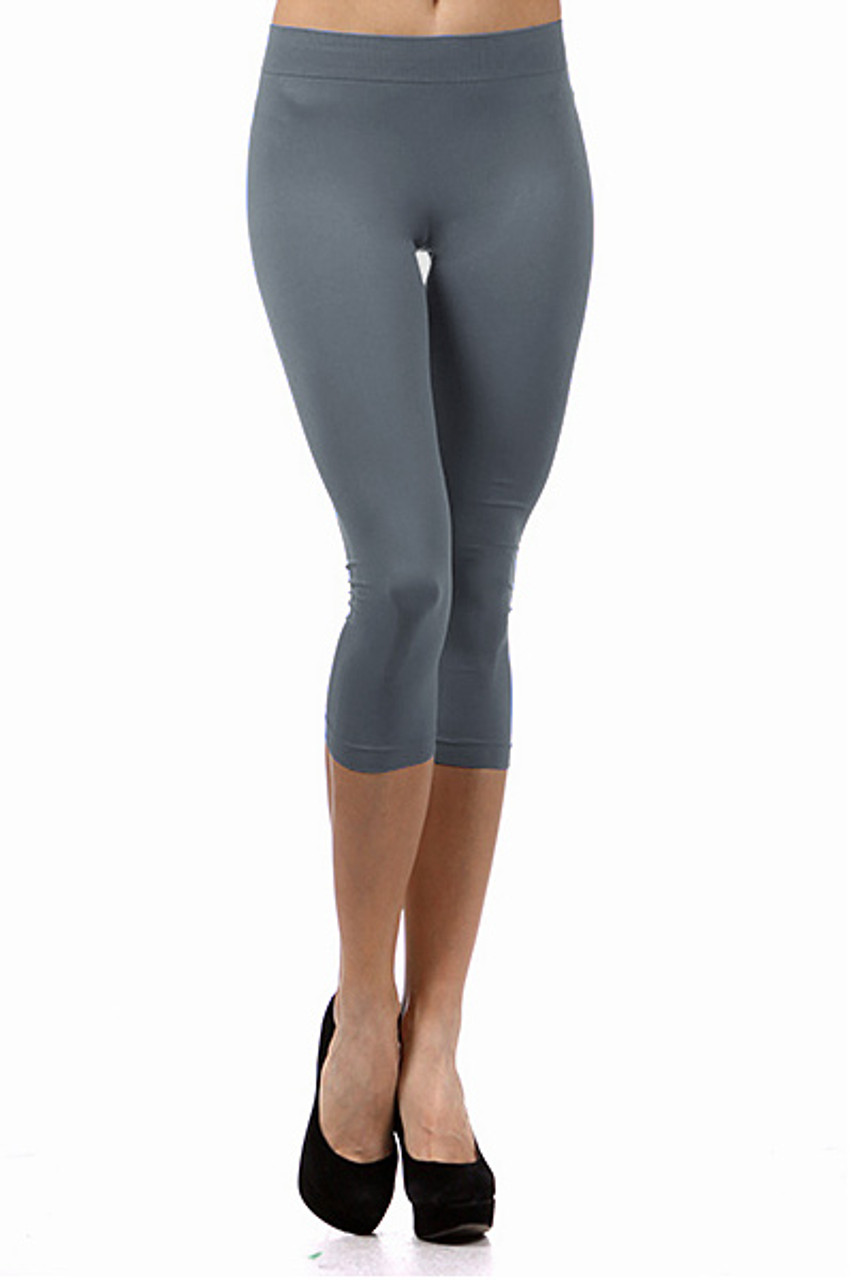 Basic Capri Length Spandex Leggings Charcoal