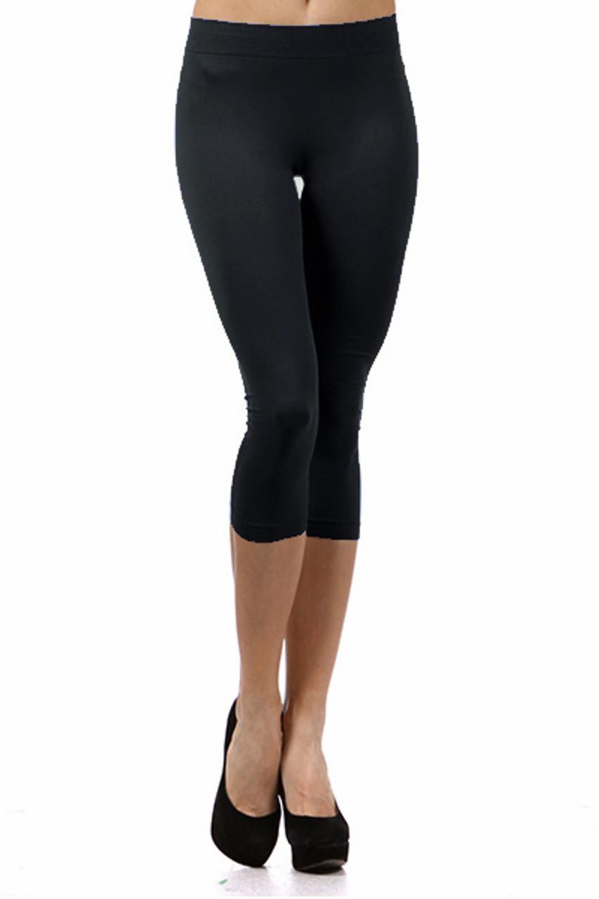 Basic Capri Length Spandex Leggings Black
