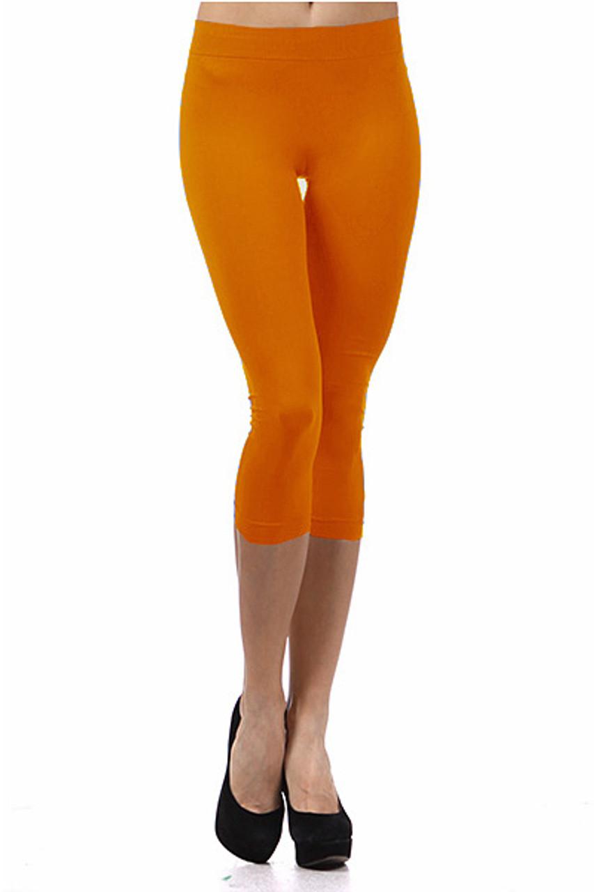 Basic Capri Length Spandex Leggings Orange