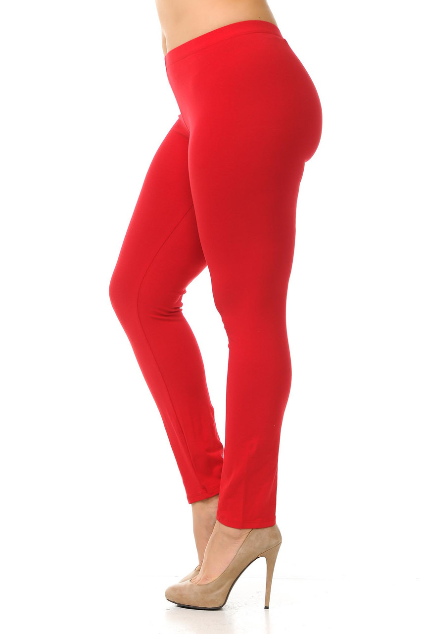 Left side view image of red Plus Size USA Cotton Full Length Leggings