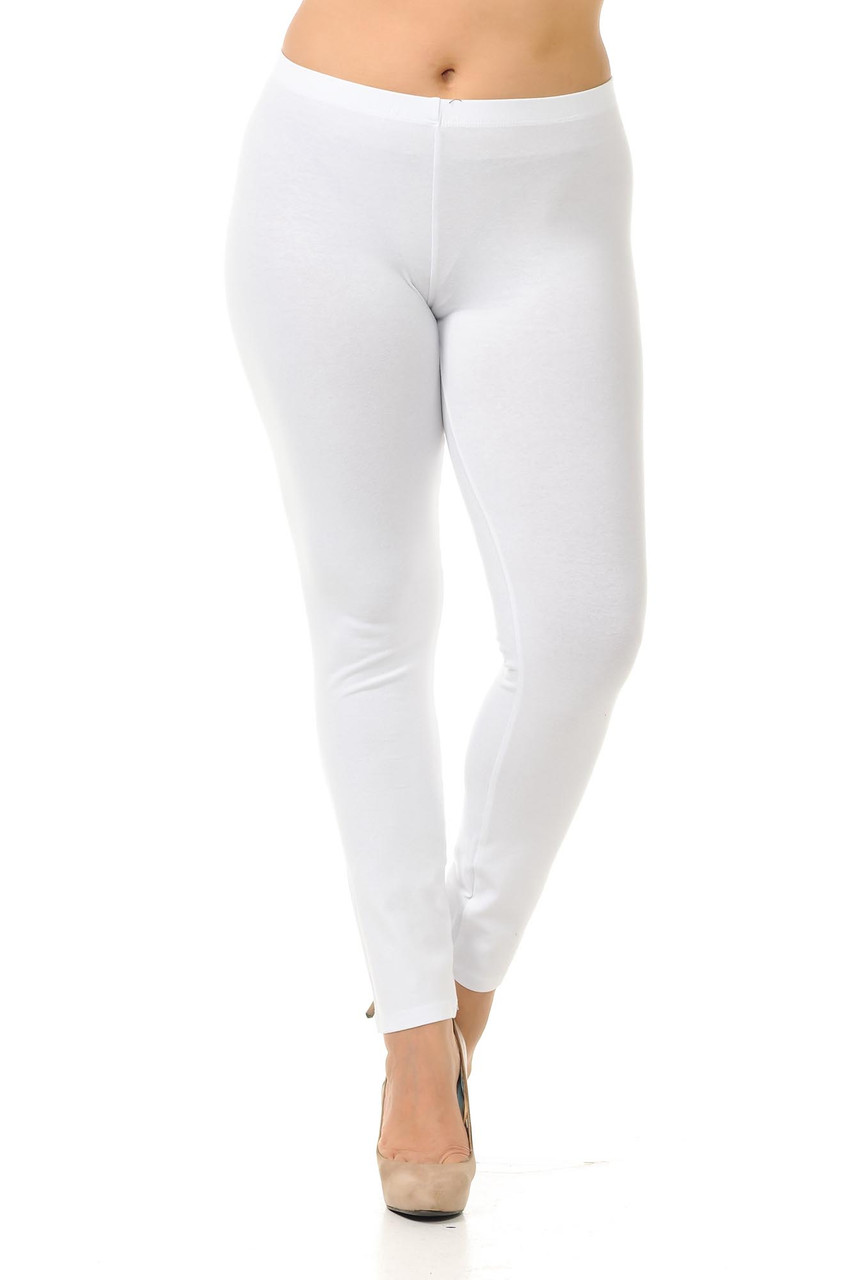 Front view of white Plus Size USA Cotton Full Length Leggings