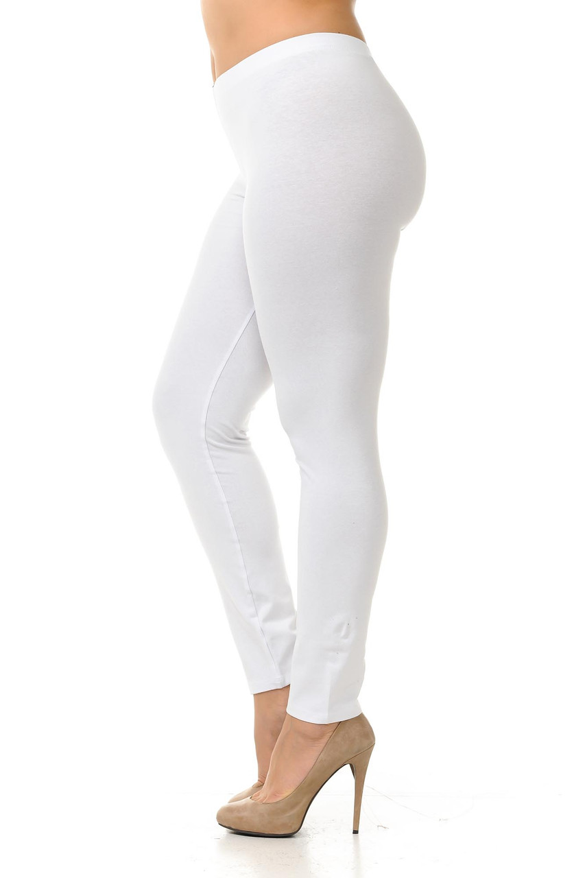 Left side view image of white Plus Size USA Cotton Full Length Leggings