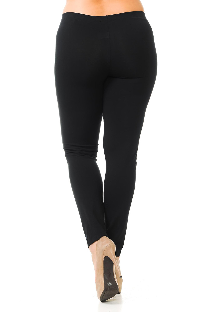 Rear view image of black Plus Size USA Cotton Full Length Leggings
