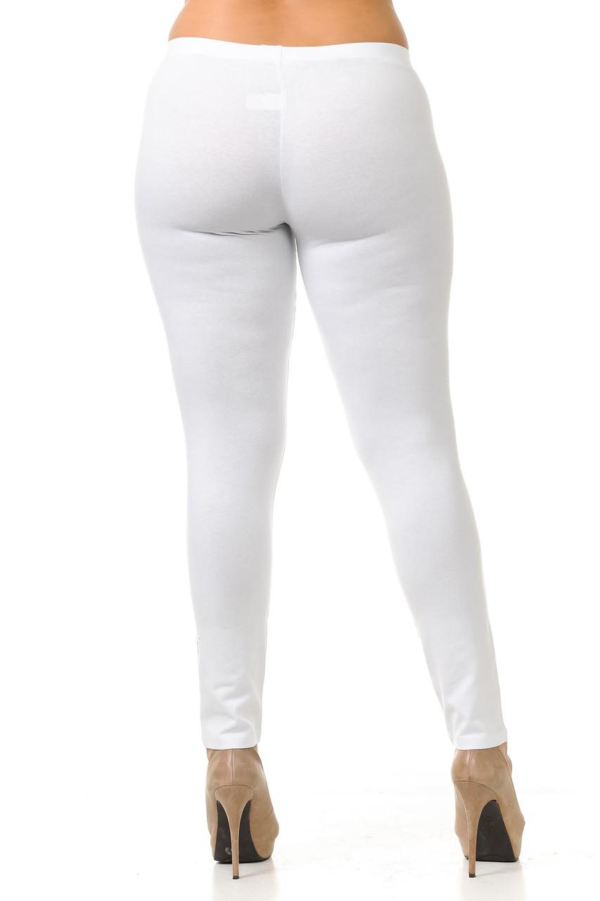 Rear view of white Plus Size USA Cotton Full Length Leggings