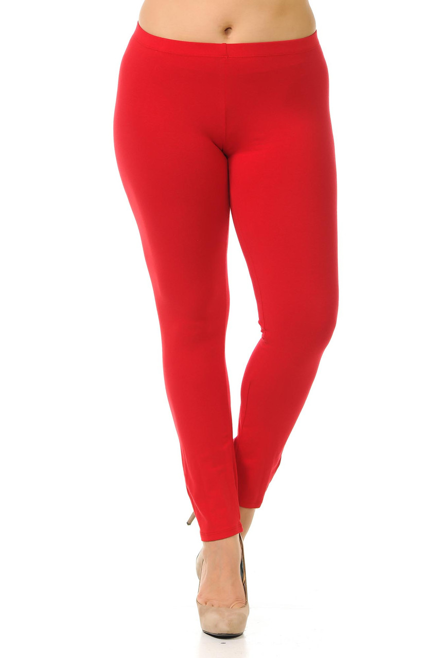 Front view image of red Plus Size USA Cotton Full Length Leggings