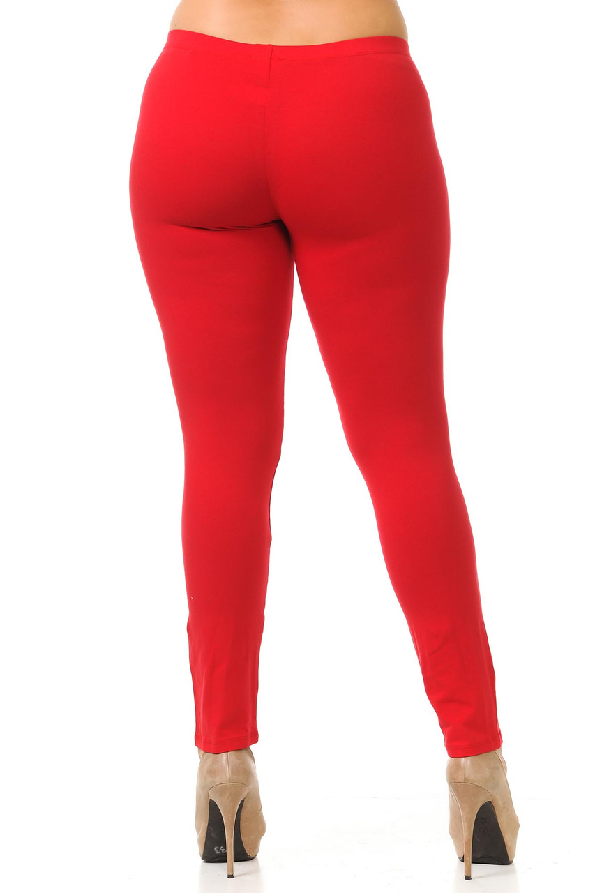 Rear view of red Plus Size USA Cotton Full Length Leggings