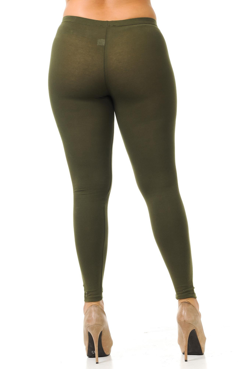 Rear view of olive Plus Size USA Cotton Full Length Leggings