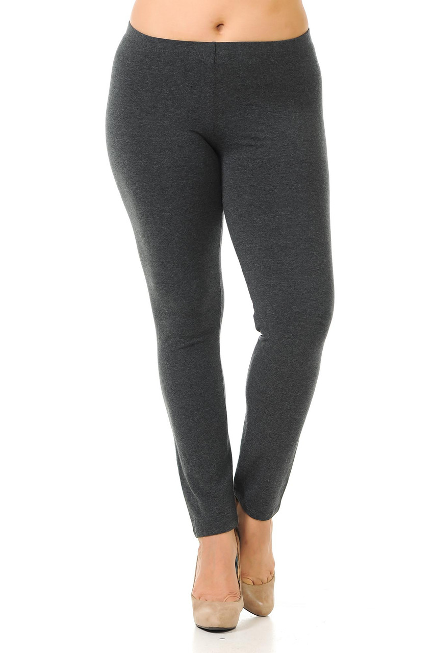 Front view image of charcoal Plus Size USA Cotton Full Length Leggings