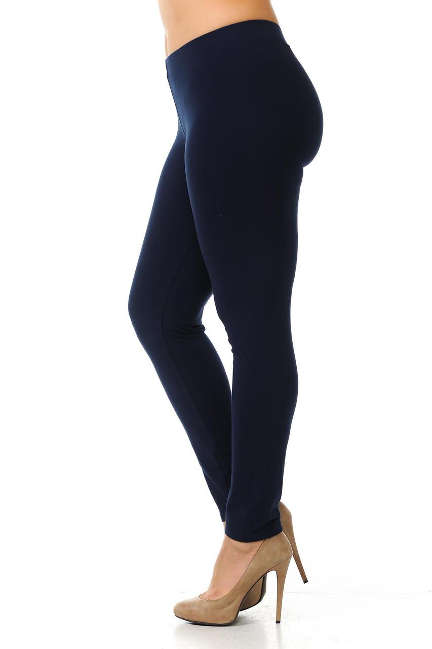 Left side view image of navy Plus Size USA Cotton Full Length Leggings