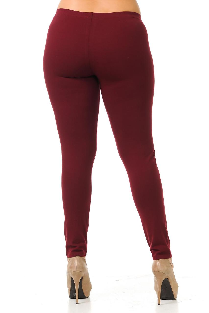 Rear view of burgundy Plus Size USA Cotton Full Length Leggings