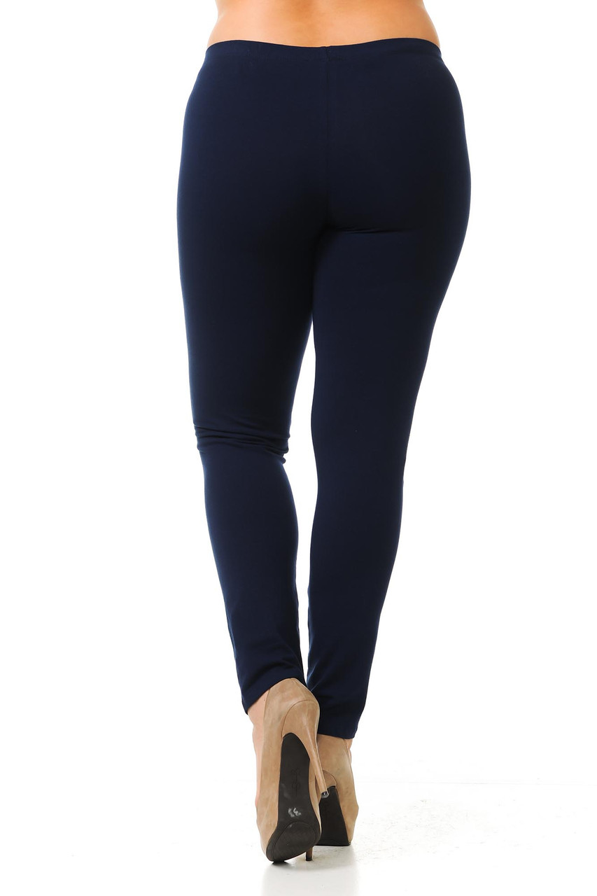 Black view image of Navy Plus Size USA Cotton Full Length Leggings