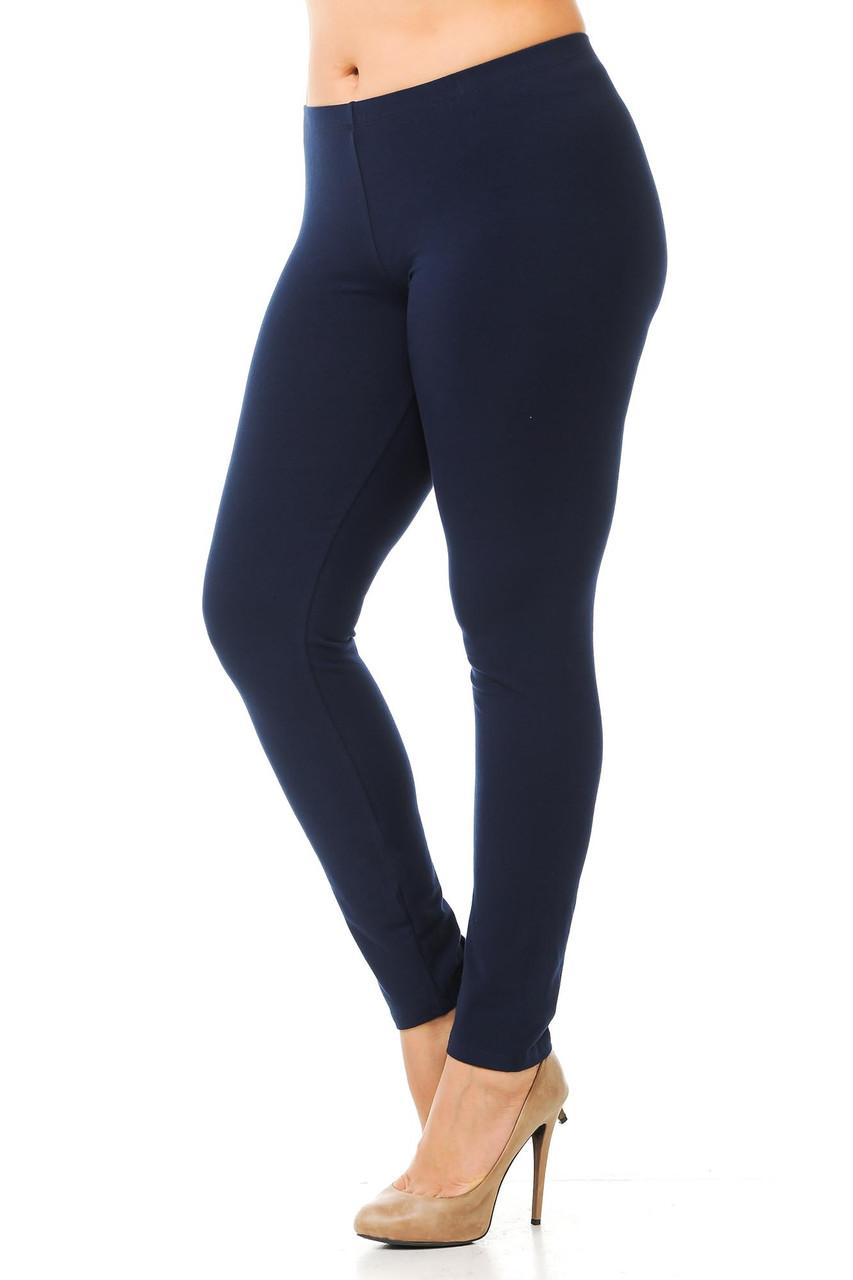 Left side image of Navy Plus Size USA Cotton Full Length Leggings