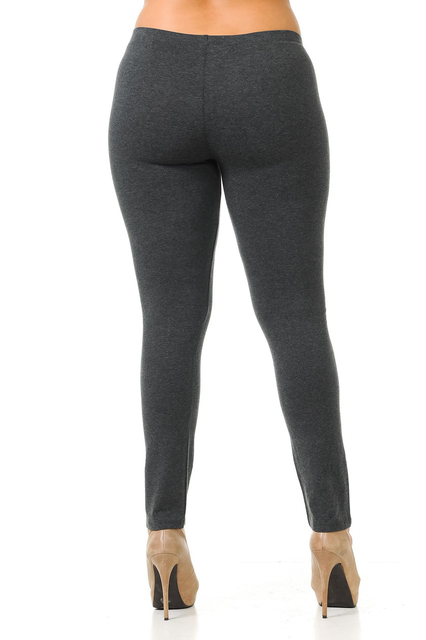 Rear view of charcoal Plus Size USA Cotton Full Length Leggings