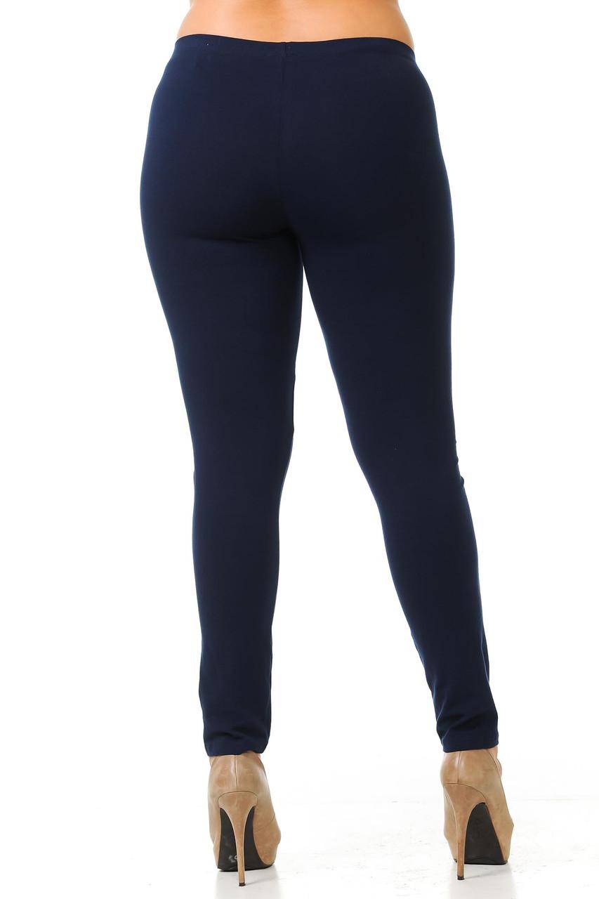 Rear view of navy Plus Size USA Cotton Full Length Leggings