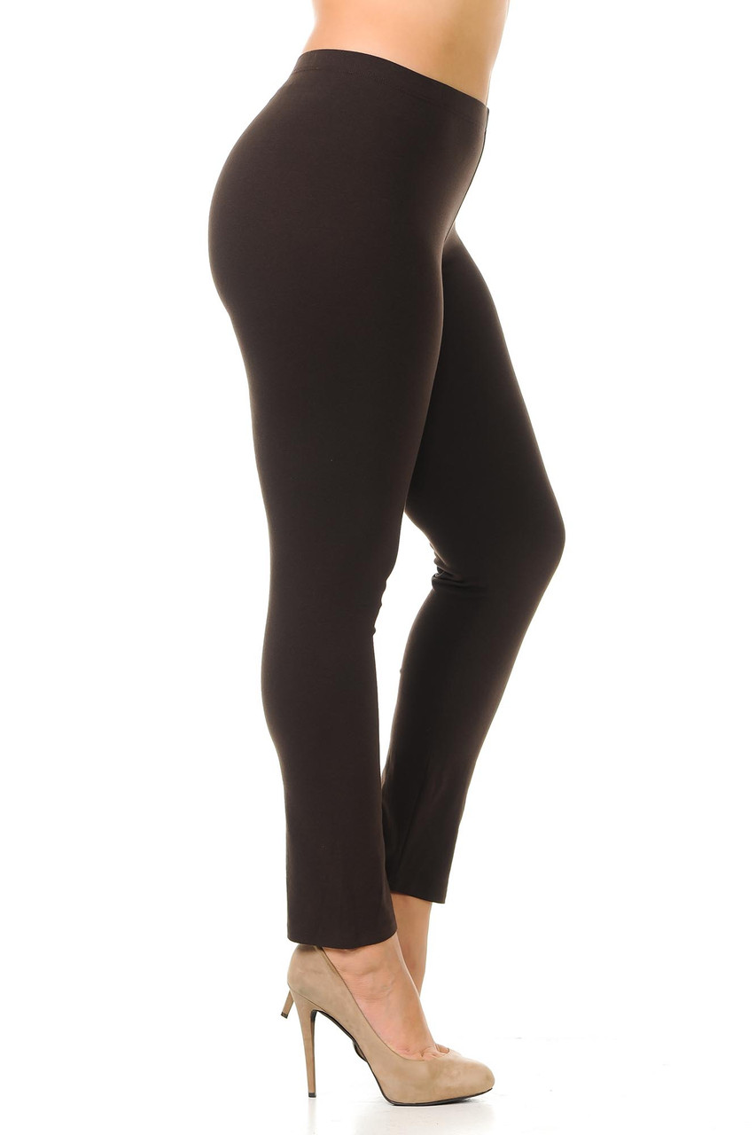 Right side view image of brown Plus Size USA Cotton Full Length Leggings