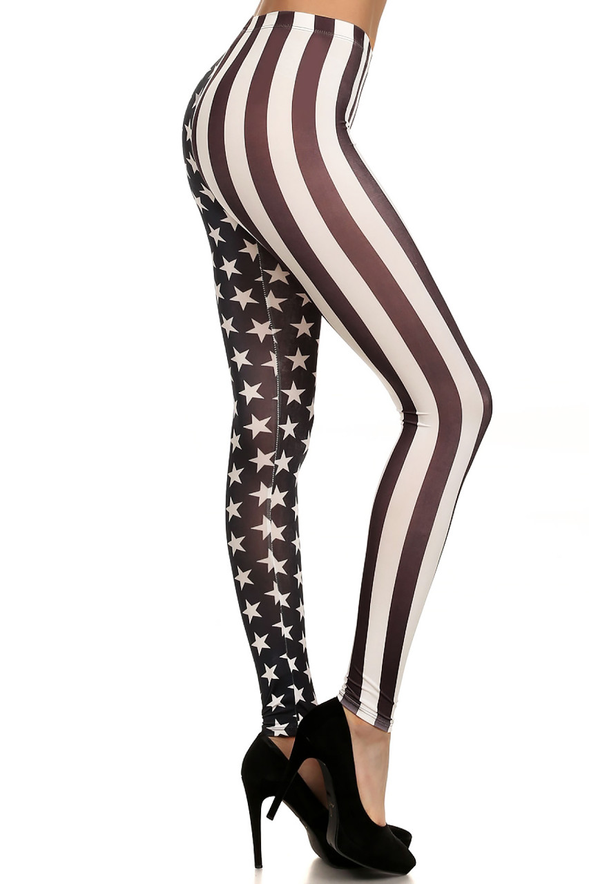 Monotone Split USA Flag Leggings