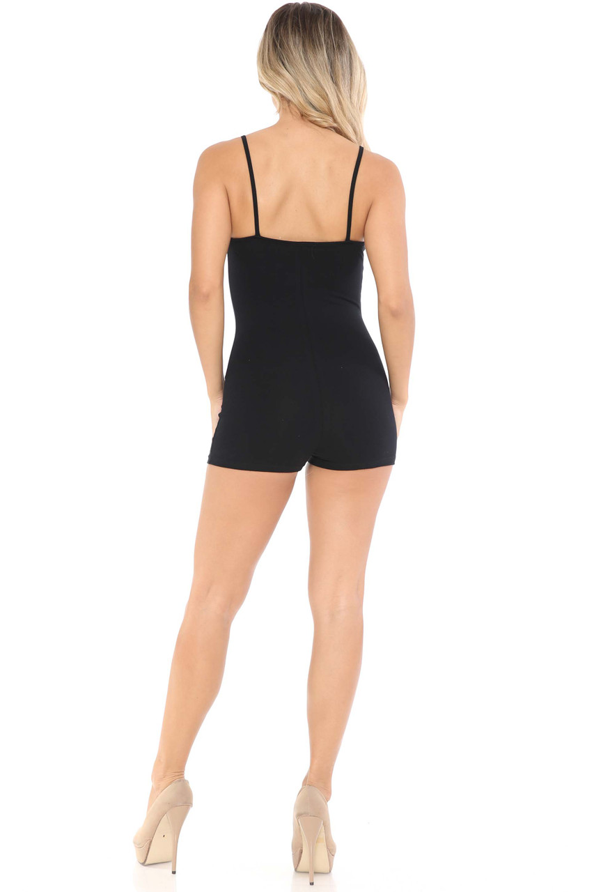 Back view of made in USA Spaghetti Strap Cotton Shorts Jumpsuit in black shown styled with nude heels.